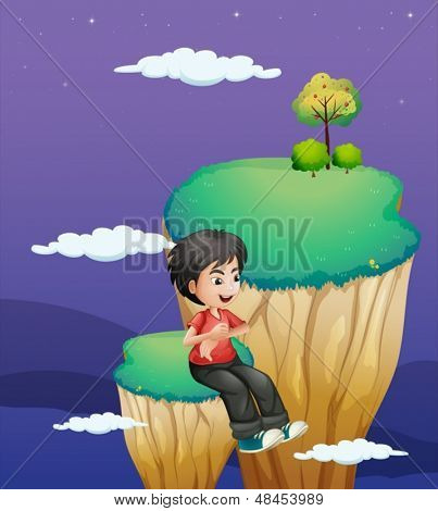 Illustration of a boy waiting for someone at the topmost part of a landform