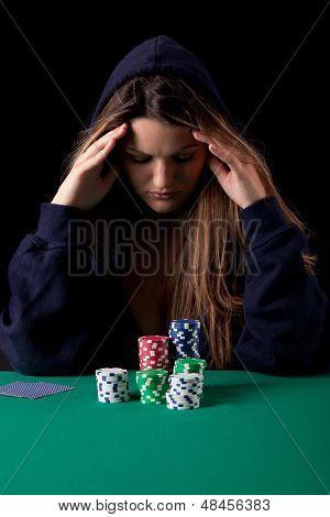 Woman Playing Poker