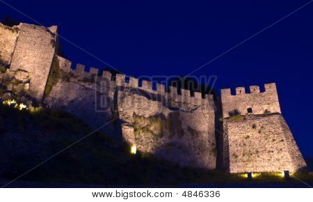 Nafpaktos Castle Illuminated At Night.