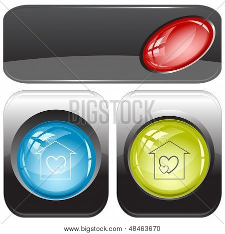 Orphanage. Internet buttons. Raster illustration. Vector version is in my portfolio.