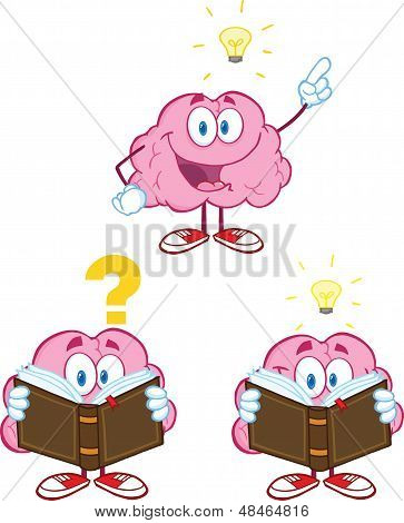 Brain Cartoon Mascot Collection 10