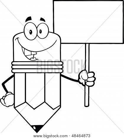 Outlined Pencil Character Holding A Blank Sign