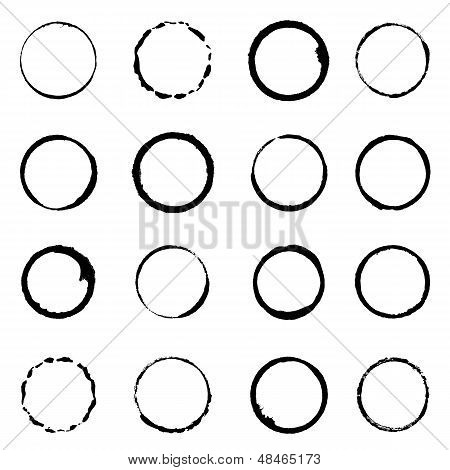 Vector Set Grunge Circle Brush Strokes For Frames