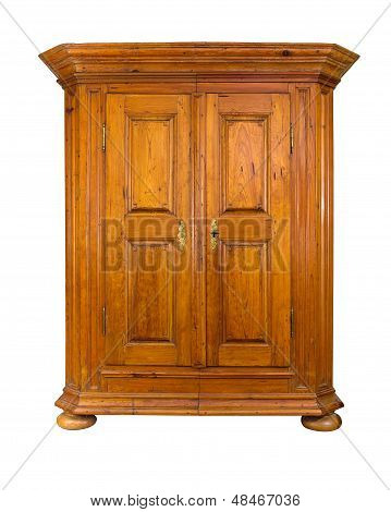 baroque wooden wardrobe on a white background
