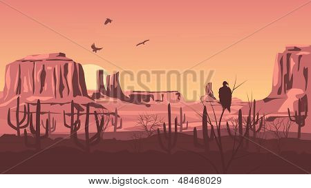 Horizontal Cartoon Illustration Of Prairie Wild West.