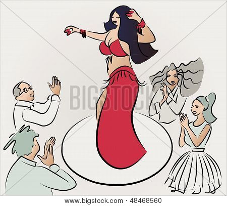 belly dancer performing , audiences clapping, vector