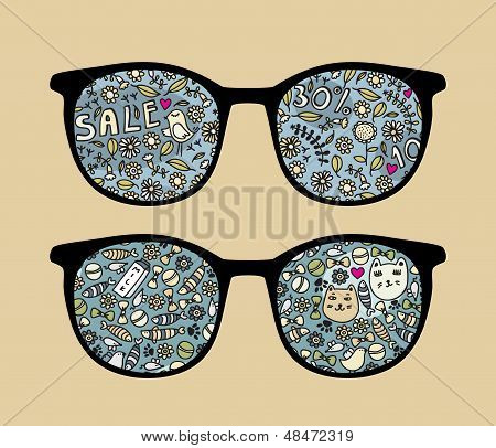 Retro sunglasses with birds reflection in it.