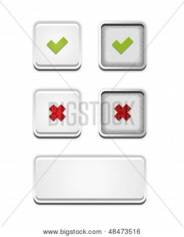 The accept and false buttons set