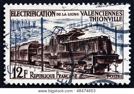 Postage Stamp France 1955 Electric Train
