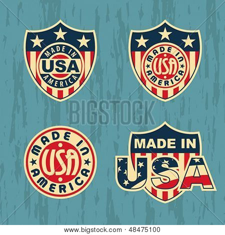 Made in America - set of badges and labels. Vector format EPS 8, CMYK.