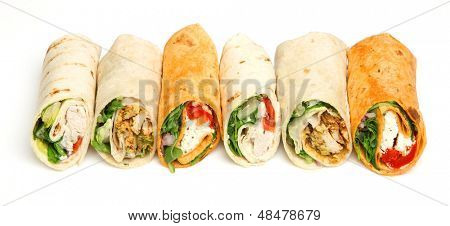 Wrap sandwiches arranged in a row.