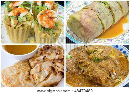 Southeast Asian Singapore Local Food Collage