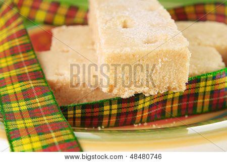 Three Shortbread Fingers With Tartan Ribbon