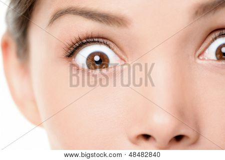 Surprised / shocked face expression of woman. Surprise and shock close up of female eyes looking at camera. Mixed race Asian Caucasian female model with brown eyes.