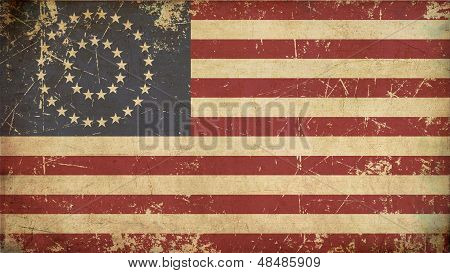 Us Civil War Union -37 Star Medalion- Flag Flat - Aged