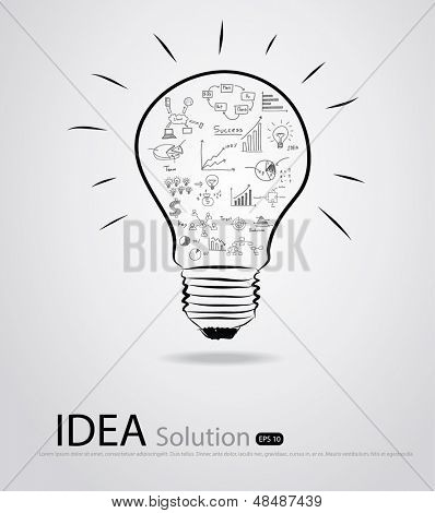 Light bulb with drawing graph inside , Vector illustration.