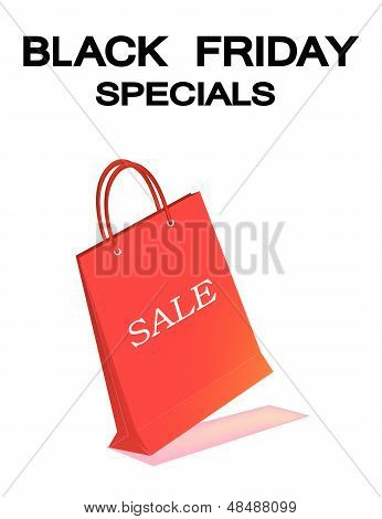 A Red Paper Shopping Bag For Black Friday Sale