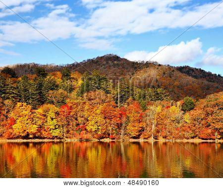 Mountains and Lake Chuzenji in Nikko, Japan.
