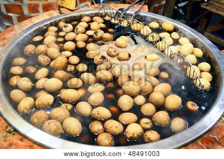 Eggs boiling in a market in Jiufen, Taipei, Taiwan.