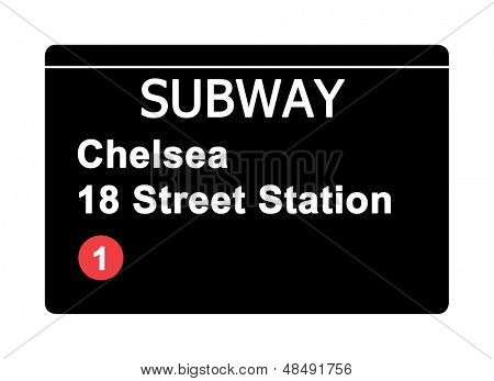 Chelsea 18 Street Station subway sign isolated on white, New York city, U.S.A.