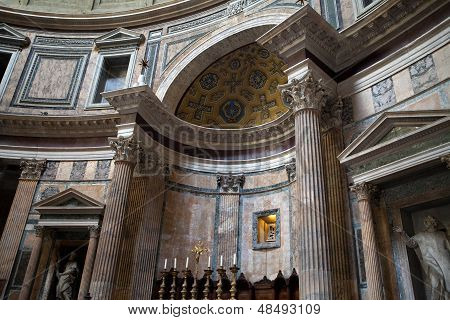 Interior view of the dome of the Pantheon in Rome Italy.