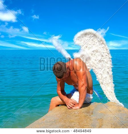 Man Wearing Angel Wings