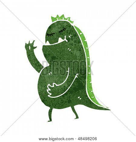 retro cartoon waving swamp monster