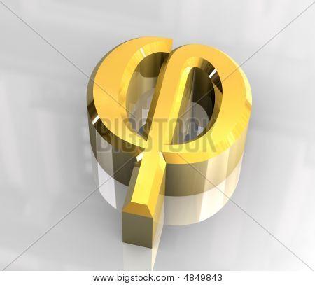 Phi Symbol In Gold