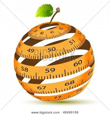 Abstract Illustration of a Centimeter in the Form of an Apple. Vector.