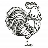 picture of rooster  - rooster hand drawn vector black illustration in Ukrainian folk style - JPG
