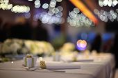 stock photo of wedding table decor  - Close view at the table set as a wedding decoration - JPG