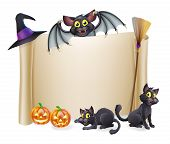 image of halloween characters  - A Halloween scroll sign with a bat character above the banner and pumpkins witch - JPG