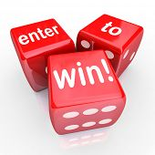 pic of lottery winners  - The words Enter to Win on three red dice to illustrate playing in a raffle - JPG
