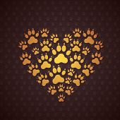 stock photo of animal footprint  - Heart of The Dog Traces - JPG