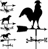picture of lightning-rod  - Weathervanes and lightning rods in vector silhouette including rooster cat dog and horse - JPG