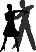 pic of ballroom dancing  - a vector of a couple dancing tango - JPG