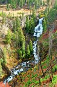 image of undine  - Undine Falls on an autumn day in Yellowstone National Park of Wyoming - JPG