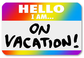 image of sabbatical  - The words Hello I Am On Vacation on a colorful nametag sticker to illustrate having fun vacationing on holiday - JPG
