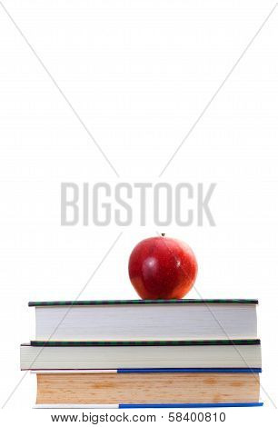 Red Apple On Stack Old And Newer Books