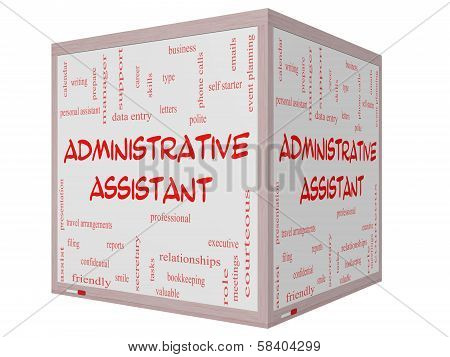 Administrative Assistant Word Cloud Concept On A 3D Cube Whiteboard