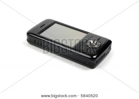 Stylish Shiny Black Pda Phone Isolated On White Background With Shadow.