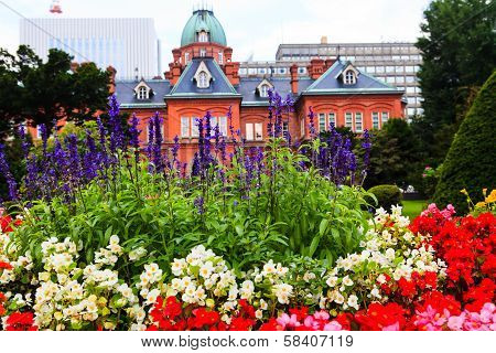 Lavender Flower With Former Hokkaido Government Office In Background.