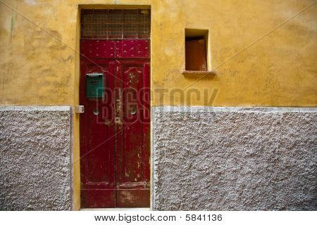 Red Door and Yellow Wall