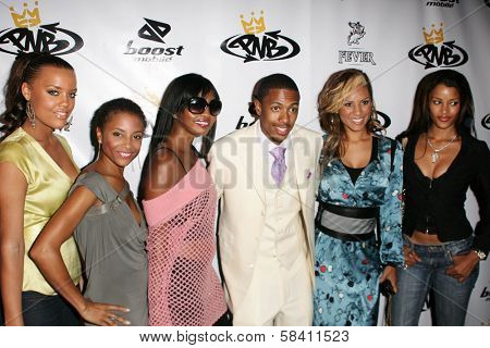 LOS ANGELES - OCTOBER 10: Nick Cannon with Claudia Jordan and friends at the birthday party for Nick Cannon and the opening of his flagship store for PNB Nation on October 10, 2006 at PNB Nation Store