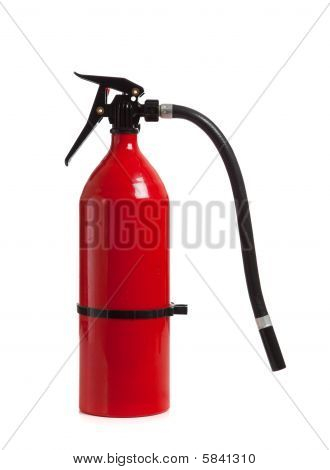 Red Fire Extinguisher On White