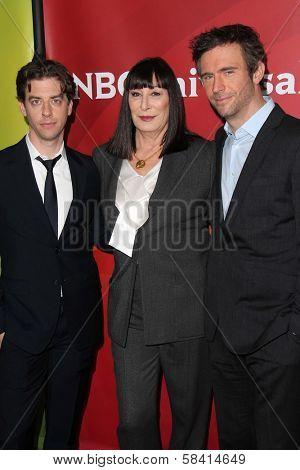 Christian Borle, Anjelica Huston, Jack Davenport at NBC Universal's