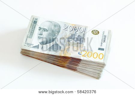 Serbian Currency - A Heap of 2000 Dinar Banknotes