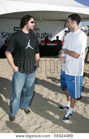 SANTA MONICA, CA - DECEMBER 02: Eric Gagne and Jordan Farmar at Kohl's Holiday Sandman Building Competition on December 02, 2006 at Santa Monica Beach, Santa Monica, CA.