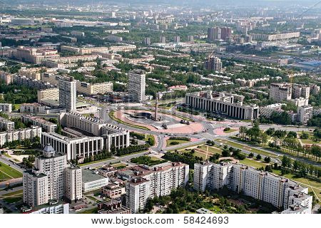 Aerial View Of The Moscow District Of St. Petersburg, Russia.