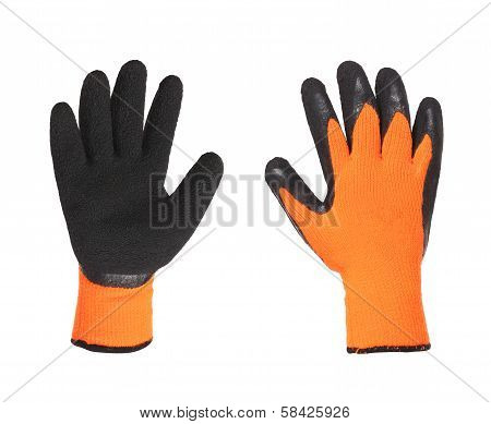 Protective gloves orange and black